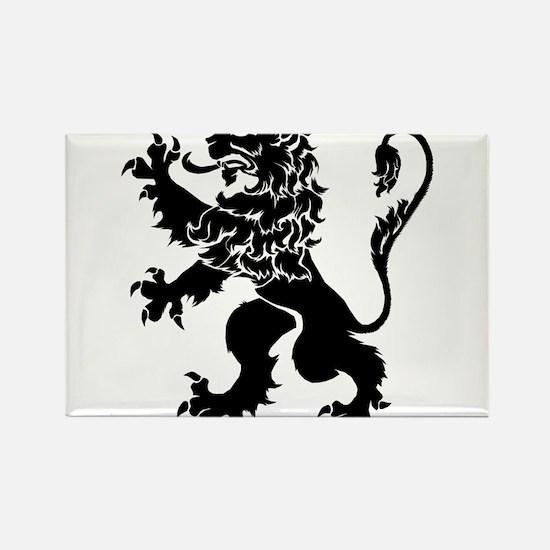 Black Lion Rampant Rectangle Magnet