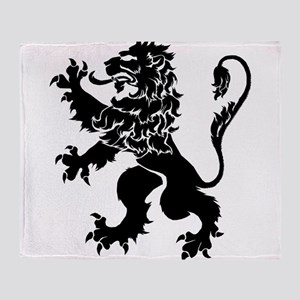 Black Lion Rampant Throw Blanket