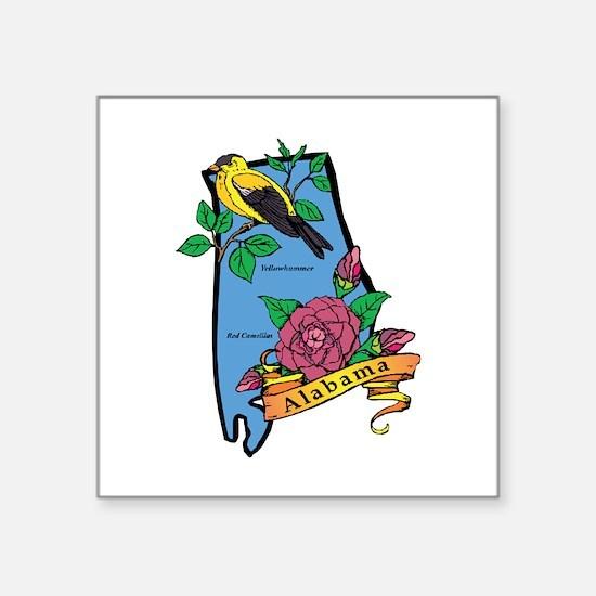 "Alabama Map Square Sticker 3"" x 3"""