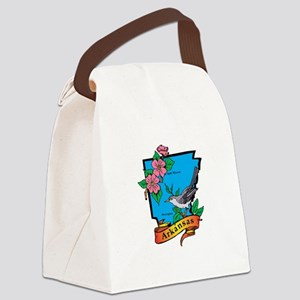 Arkansas Map Canvas Lunch Bag