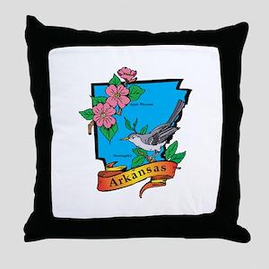 Arkansas Map Throw Pillow