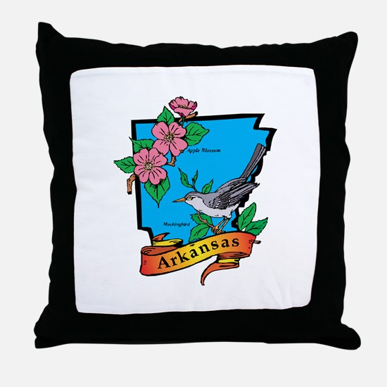 Arkansas Map Throw Pillow