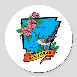 Arkansas Map Round Car Magnet