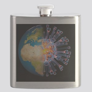 Global flu pandemic, artwork - Flask