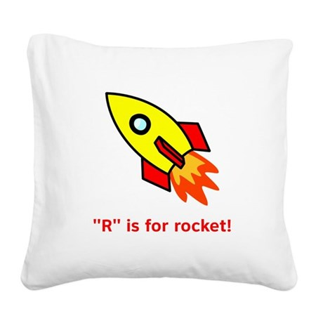 R is for rocket red.png Square Canvas Pillow
