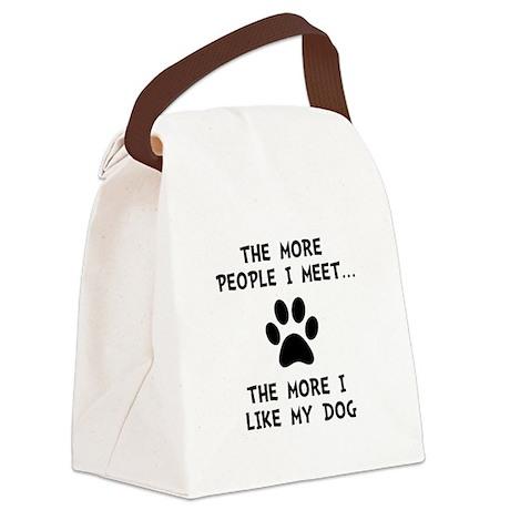 Like My Dog Black Canvas Lunch Bag
