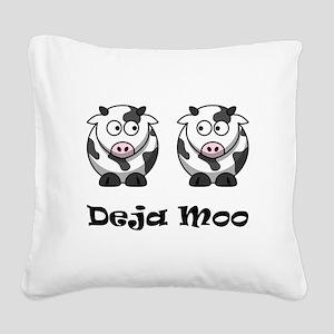 Deja Moo Black Square Canvas Pillow