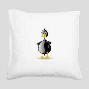 Duck Black Square Canvas Pillow