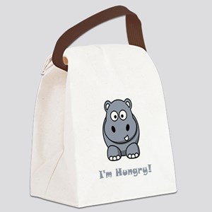 Hungry Hippo Grey Canvas Lunch Bag