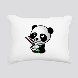 Panda Rice Black Rectangular Canvas Pillow
