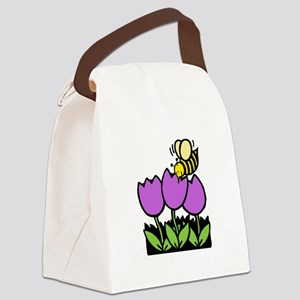 Bee Flowers Black Only Canvas Lunch Bag