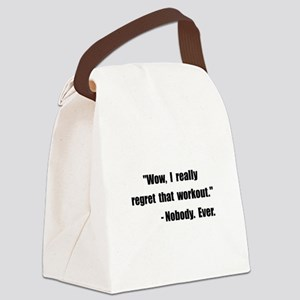 Workout Quote Black Canvas Lunch Bag