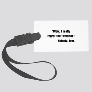 Workout Quote Black Large Luggage Tag