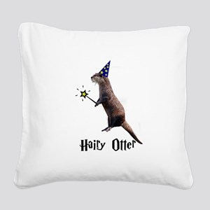 Hairy Otter Black Square Canvas Pillow