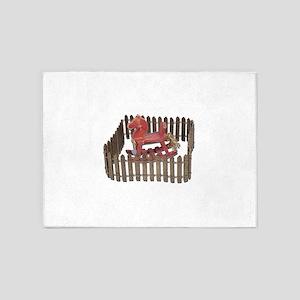 Rocking Horse in Paddock 5'x7'Area Rug