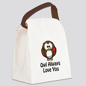 Owl Always Love You Black Canvas Lunch Bag