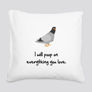 Poop On Love Black Square Canvas Pillow