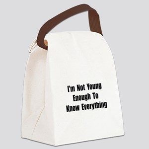 Know Everything Black Canvas Lunch Bag