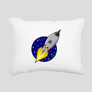 Space Rocket Blue FBC Rectangular Canvas Pillo