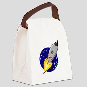 Space Rocket Blue FBC Canvas Lunch Bag
