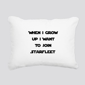 Starfleet Black Rectangular Canvas Pillow