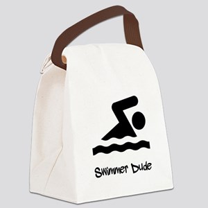 Swimmer Dude Black Canvas Lunch Bag