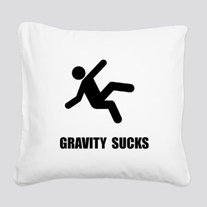 Gravity Sucks Black Square Canvas Pillow