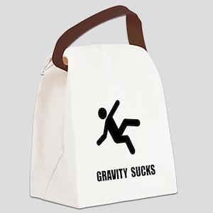 Gravity Sucks Black Canvas Lunch Bag