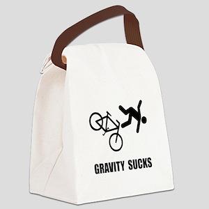 Gravity Sucks Bike Black Canvas Lunch Bag