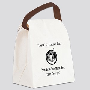 Latte Italian Coffee Black Canvas Lunch Bag