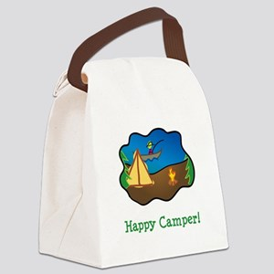 Happy Camper Green Canvas Lunch Bag