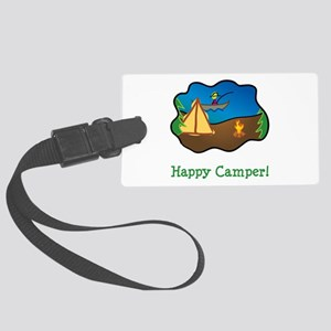 Happy Camper Green Large Luggage Tag