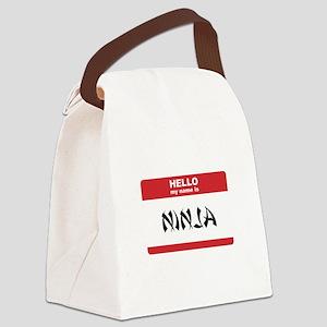 Hello My Name Is Ninja Canvas Lunch Bag