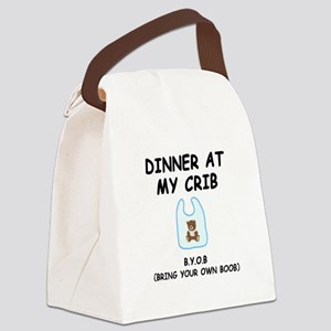Dinner Crib Boob Black Canvas Lunch Bag