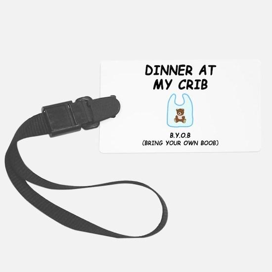Dinner Crib Boob Black.png Luggage Tag