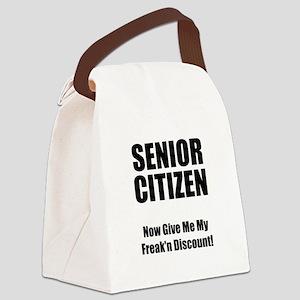 Senior Citizen Black Canvas Lunch Bag