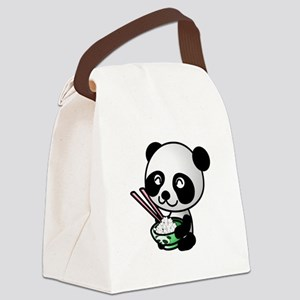 Panda Rice Black Canvas Lunch Bag