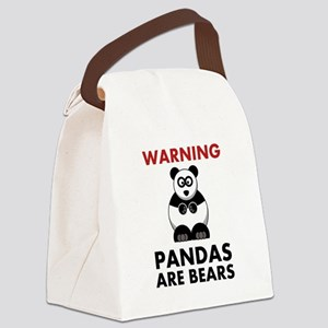 Warning Pandas Black Only Canvas Lunch Bag