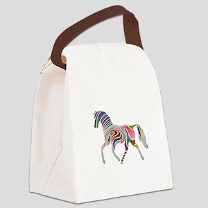 Horse Multicolor Wavey Canvas Lunch Bag
