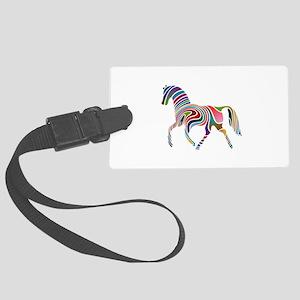 Horse Multicolor Wavey Large Luggage Tag