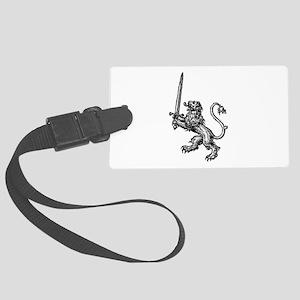 Lion Sword BLack White Large Luggage Tag