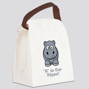 H is for Hippo Grey Canvas Lunch Bag