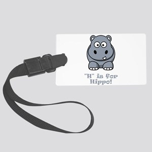 H is for Hippo Grey Large Luggage Tag