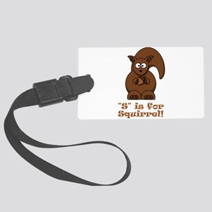S is for Squirrel Brown Large Luggage Tag