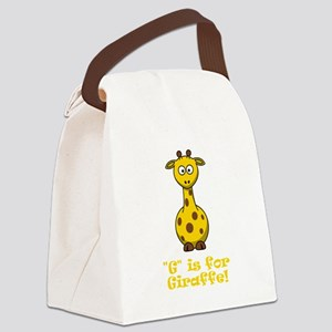 G is for Giraffe Orange Canvas Lunch Bag