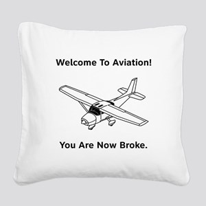 Aviation Broke Style 2 black Square Canvas Pil