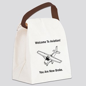 Aviation Broke Style 2 black Canvas Lunch Bag