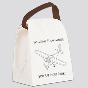 Aviation Broke Black Text Canvas Lunch Bag