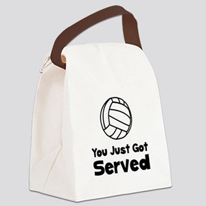 Volleyball Served Black Canvas Lunch Bag