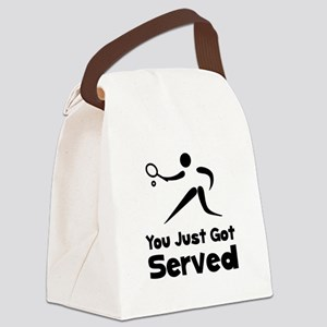 Tennis Served Black Canvas Lunch Bag